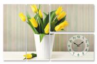 Часы настенные на холсте Тюльпаны