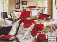 """Двухспальное постельное белье, 3D  """"Роза и перо"""""""