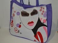 Фиолетовая пляжная сумка  с бантиком